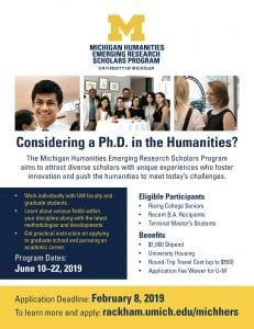 flyer for the Michigan Humanities Emerging Research Scholars Program (MICHHERS)