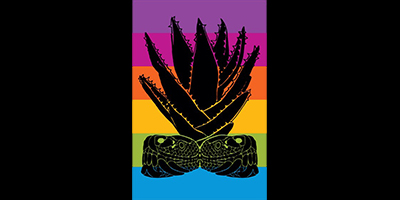 illustration of twin serpents and sábila (aloe vera) against a spectrum of color